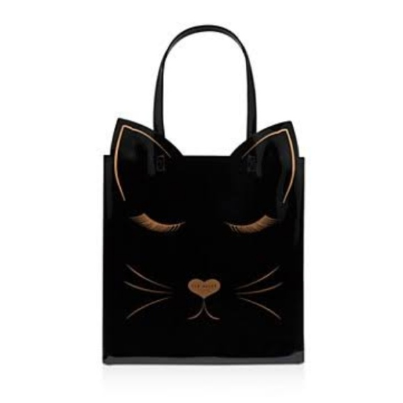05f00d304aa Ted Baker London Bags | Nwt Ted Baker Cat Print Tote Black Rose Gold ...